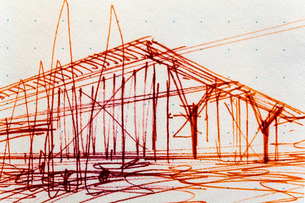 Perspective sketch for The Modern Fort Worth by Tadao Ando